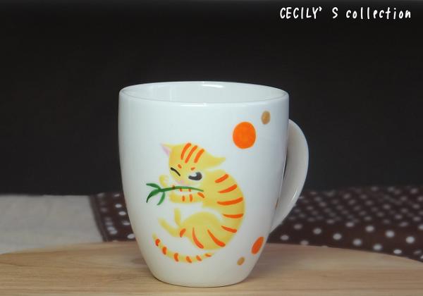 猫手描きオーダーマグカップ(名入れ)ラウンドフォルム⑥
