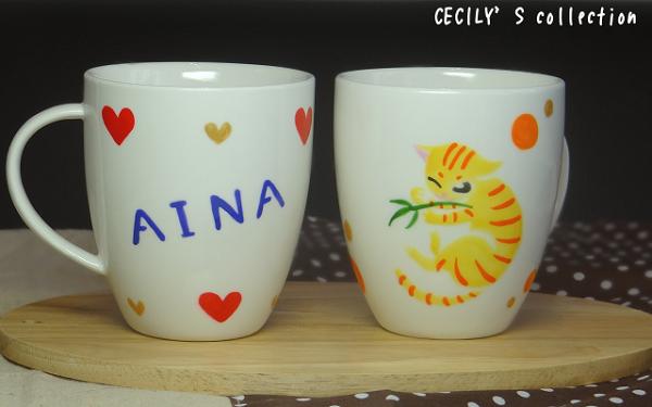 猫手描きオーダーマグカップ(名入れ)ラウンドフォルム⑦