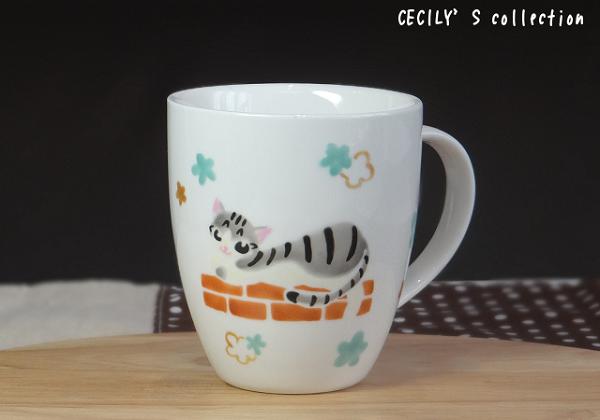 猫手描きオーダーマグカップ(名入れ)ラウンドフォルム⑧