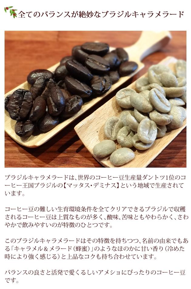 ブラジルキャラメラードは、世界のコーヒー豆生産量ダントツ1位のコーヒー王国ブラジルの【マッタス・デミナス】という地域で生産されています。コーヒー豆の難しい生育環境条件を全てクリアできるブラジルで収穫されるコーヒー豆は上質なものが多く、酸味、苦味ともやわらかく、さわやかで飲みやすいのが特徴のひとつ。このブラジルキャラメラードはその特徴を持ちつつ、名前の由来でもある「キャラメル&メラード(蜂蜜)」のようなほのかに甘い香り(冷めた時により強く感じる)と上品なコクも持ち合わせています。